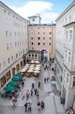 View from Wolfgang Amadeus Mozart house. View from the birthplace of Wolfgang Amadeus Mozart house at No.9 Getreidegasse in Salzburg, Austria Royalty Free Stock Image