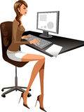 The view of woman. The woman is working on the computer Royalty Free Stock Image