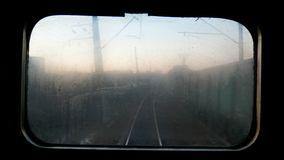 View move window train. View of the wood and environment from a window of quickly going train stock video footage