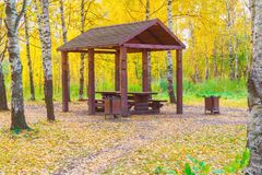 Wooden arbor in the autumn forest. View of a wooden arbor in the autumn forest royalty free stock photos