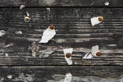 Wooden background with pins Stock Photo