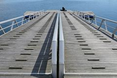 View on a wooden boat dock Royalty Free Stock Photos