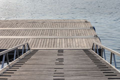 View of a wooden boat dock Stock Photo