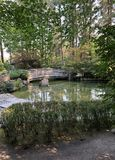 A view of a wooden bridge over a pond at a Japanese Garden stock images