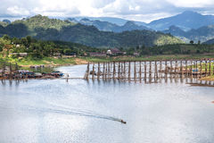 View of wooden bridge is the second longest in the world. At sangklaburi, kanchanaburi, thailand Royalty Free Stock Image