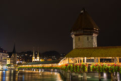View of wooden Chapel bridge and old town of Lucerne Royalty Free Stock Images