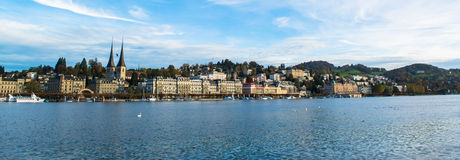 View of wooden Chapel bridge and old town of Lucerne Stock Image