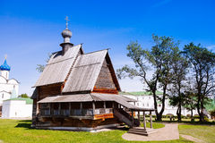 View of wooden Church of St. Nicholas in ancient Suzdal kremlin. Royalty Free Stock Photos