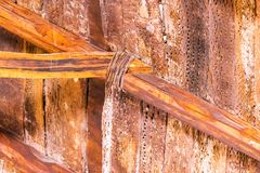 View of the wooden crossbar in San Pedro de Atacama, Chile. Close-up stock photography