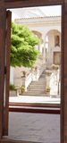 View through a wooden door Royalty Free Stock Photo