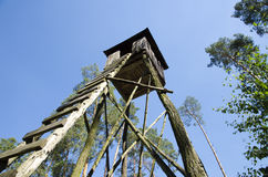 View of a wooden hunting post in a forest Royalty Free Stock Images