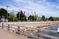 View from the wooden jetty to the promenade royalty free stock photography