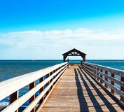 View of the wooden pier in Kauai, Hawaii islands. Copy space for text stock photo