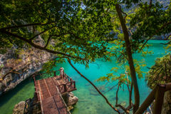 View wooden platform near the blue lagoon in Royalty Free Stock Photos