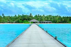 View of wooden pontoon at beautiful tropical royalty free stock photos