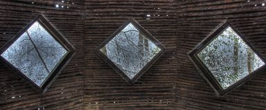 View from wooden shelter in woods Stock Photography