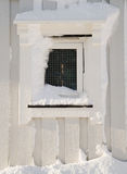 View of wooden snowy window Royalty Free Stock Photography