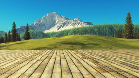 View from a wooden terrace. With mountain scenery. This is a 3d render illustration Stock Image