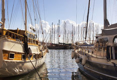 View of wooden yachts Stock Photo