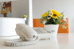 View of a work desk interior with telephone Royalty Free Stock Photos