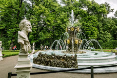 View of working fountain in the Summer garden in St. Petersburg. Russia royalty free stock photo