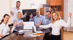 View at working meeting with diagram at background Royalty Free Stock Photography