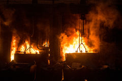View of working open hearth furnace Royalty Free Stock Photos