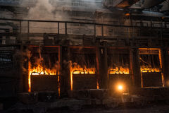 View of working open hearth furnace Royalty Free Stock Image