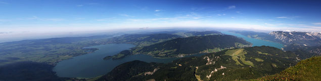View of the world. A panoramic photo of a lakes between mountains (alps stock photos