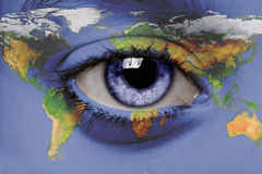 A view on the world. A child's eye looks at the world stock image