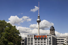 Berlin Buildings and Television Tower (Fernsehturm). View at the world famous Berlin television tower rising behind buildings Stock Image