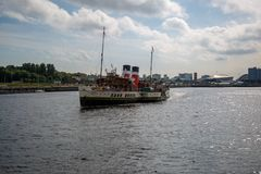 World famous Paddle Steamer Waverley heading down the River Clyde looking East from Govan, Glasgow, Scotland. A view of the world famous Paddle Steamer Waverley Royalty Free Stock Images