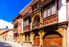 World heritage colonial building in the old town of Bolivia stock image