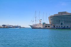 View on the World Trade Center Barcelona from the Port Vell. View on the World Trade Center Barcelona located on the waterfront of Mediterranean Sea from the Stock Photo