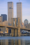 View of the World Trade Towers, Brooklyn Bridge with TV helicopter, New York City, NY Royalty Free Stock Images