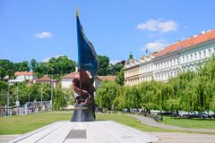 View of the World War II Victims Monument at Malostranska district. Its located under the Pragu. E Castle near the old town part of Prague Stock Photo