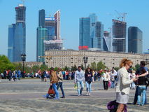 The view from the Worship Hill (Poklonnaya Gora).Victory Day in Moscow. Stock Photo