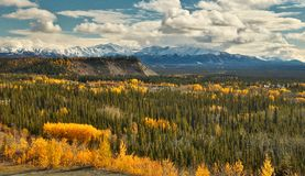 View of Wrangell - St. Elias mountains from Glenn HWY, Alaska. View of Wrangell - St. Elias mountains from Glenn HWY in Alaska, beatiful colorful autumn time royalty free stock image