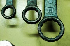 The ring wrenches. A view of the wrenches Stock Photos