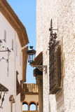 View of the wrought-iron grille and streetlight, Sitges, Barcelona, Catalunya, Spain. Vertical. View of the wrought-iron grille and streetlight, Sitges stock photo