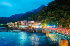 View of Wulai village at night. With river and mountains Stock Image