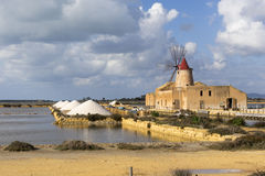 View of the wwf windmill in the salt pans. Trapani, Italy - December 29, 2014: View of the wwf windmill in the salt pans Stock Image