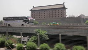 View of Xi`an city wall form moving train ,xi`an, shaanxi, china stock footage