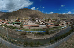 View on Xiahe. The view on Xiahe village and Daxia river from the hill near this Tibetan Chinese settlement, Gansu province, China Stock Image