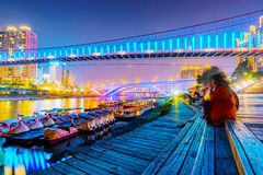 View of Xindian riverside area at night Stock Photography