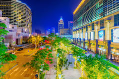 View of Xinyi financial district architecture at night. TAIPEI, TAIWAN - FEBRUARY 16: This is a night view of downtown Taipei outside the Taipei 101 building and Royalty Free Stock Image