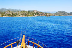 The view from yacht on bay and castle in Kekova Royalty Free Stock Image