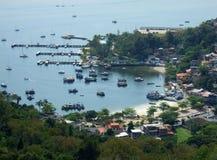 View of Yacht club in Jurujuba. Fishing Boats in Yacht Club in Jurujuba fisherman colony, Niterói, Rio de Janeiro, Brazil stock image