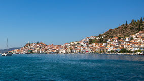 View from the yacht of the coast Poros island Stock Image
