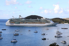 View of Yacht Harbor and Royal Caribbean Freedom of the Seas. In St Thomas U.S. Virgin Islands Royalty Free Stock Photography
